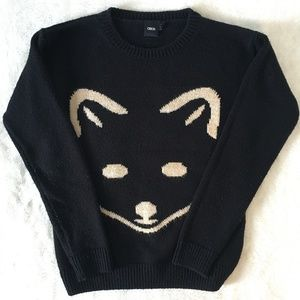ASOS Crew Neck Mono Fox Sweater Size 4